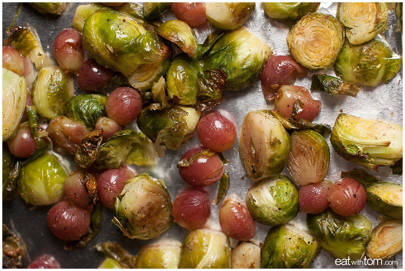red seedless grapes with brussels sprouts healthy and delicious recipe by eat with tom