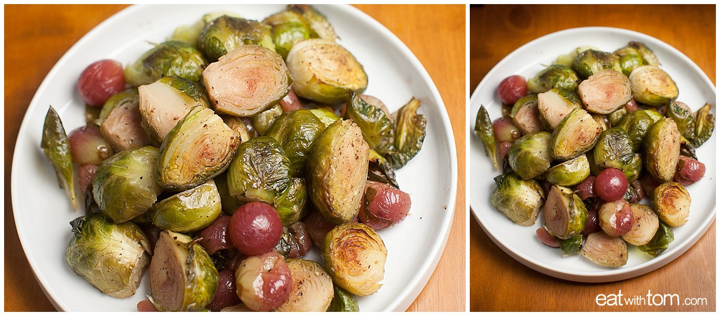 Brussels Sprouts and red Grapes Recipe photo of roasted vegetable side dish