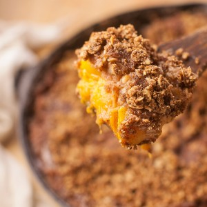 Peach quinoa crumble dessert recipe by angela the baker