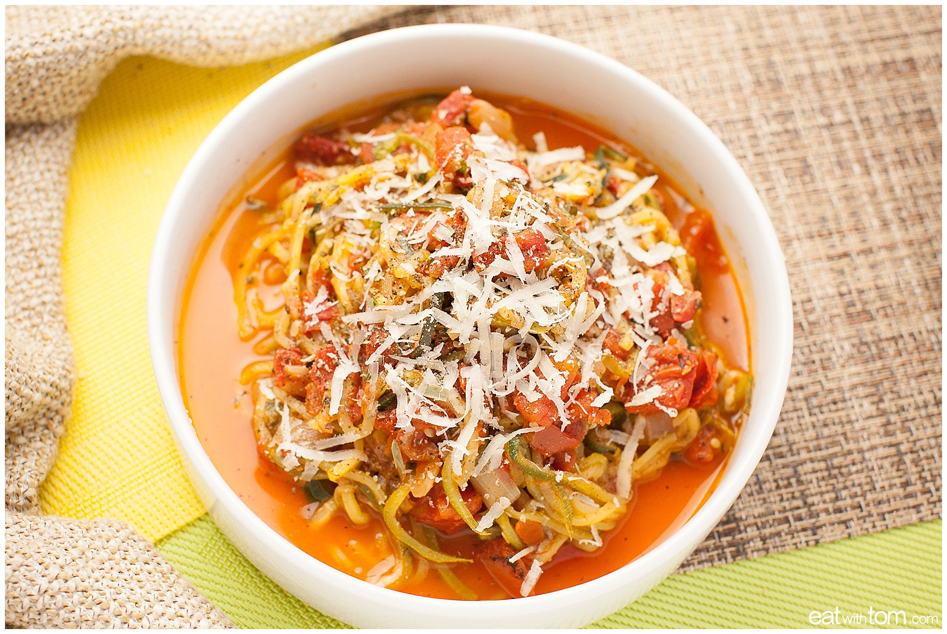 spiralizer recipe for homemade spaghetti sauce with herbs Zucchini vegetable noodle recipe main dish with pictures