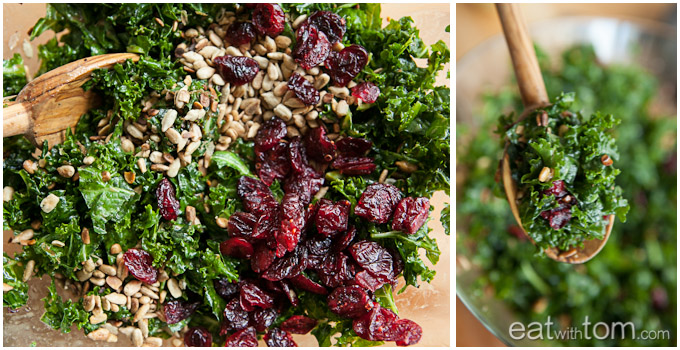 Combine kale salad with cranberries and sunflower seeds