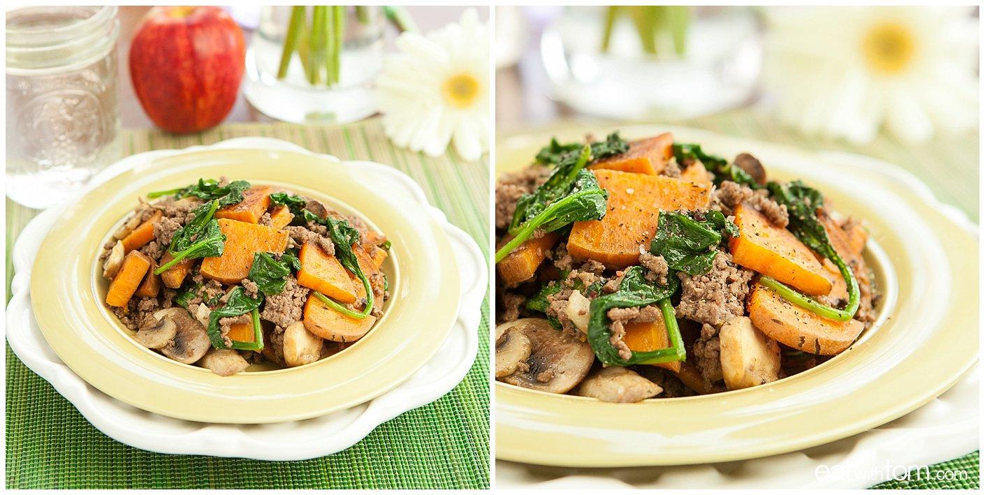 Sweet Potatoes with Hamburger Breakfast Recipe instructional photos