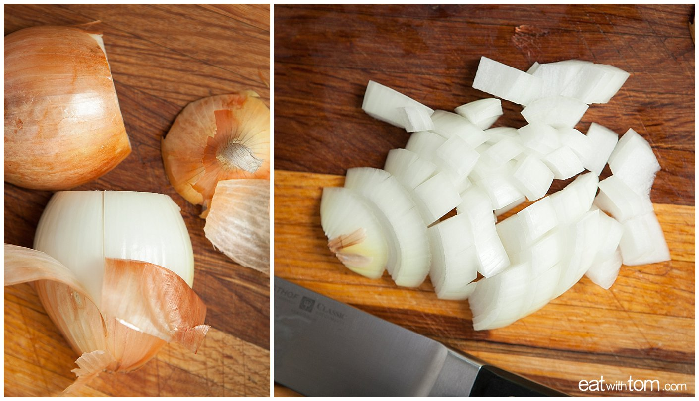 Summer Seafood stew recipe preparation instructions, cut onions diced