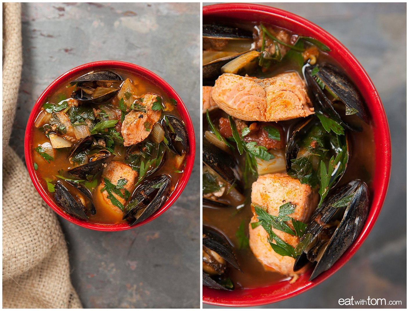 Summer Seafood Stew Recipe Close up of salmon and mussels - Cooking with Tom