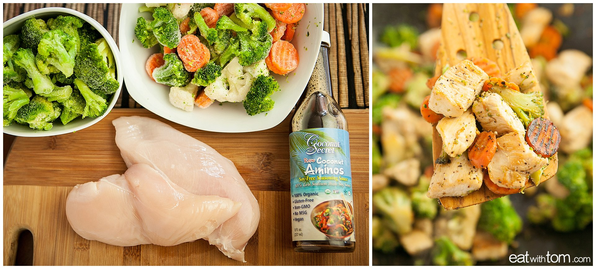 Quick chicken stir fry recipe with coconut aminos and frozen vegetables