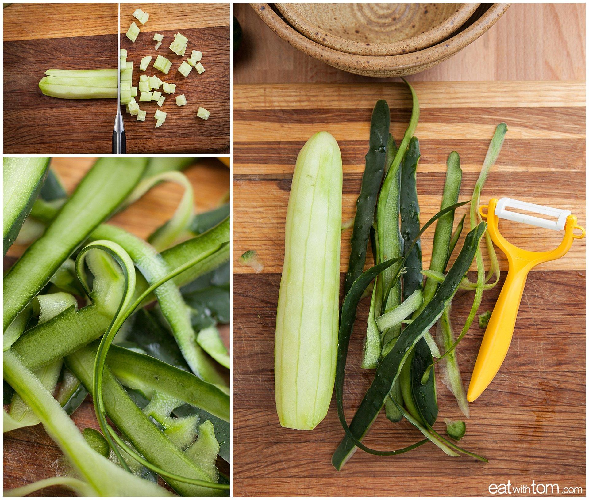 peel cucumbers with kyocera ceramic peeler for quinoa breakfast recipe