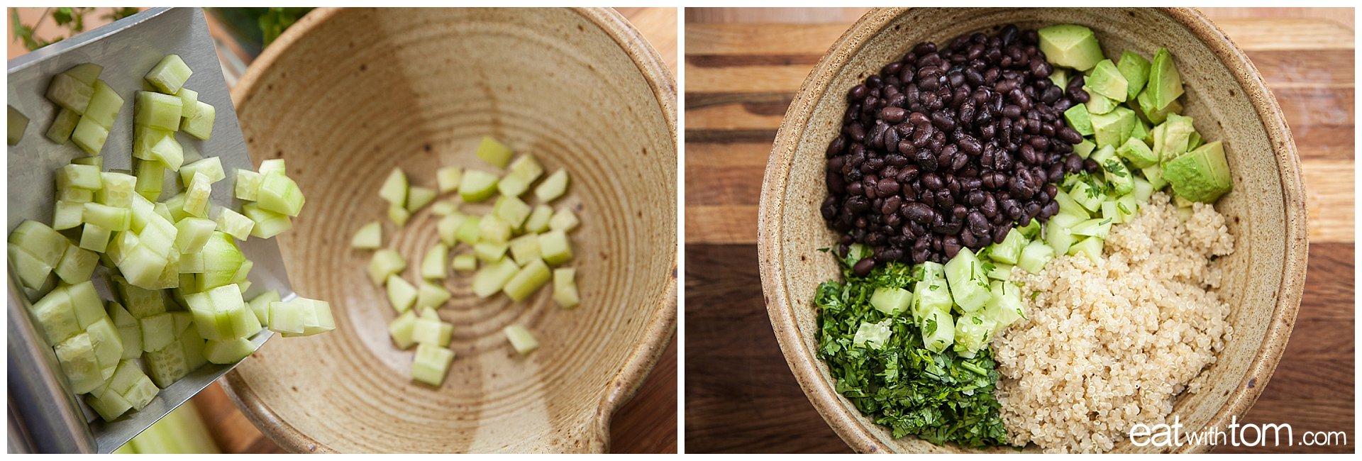 Chop cucumbers - Simple Black bean and Quinoa recipe