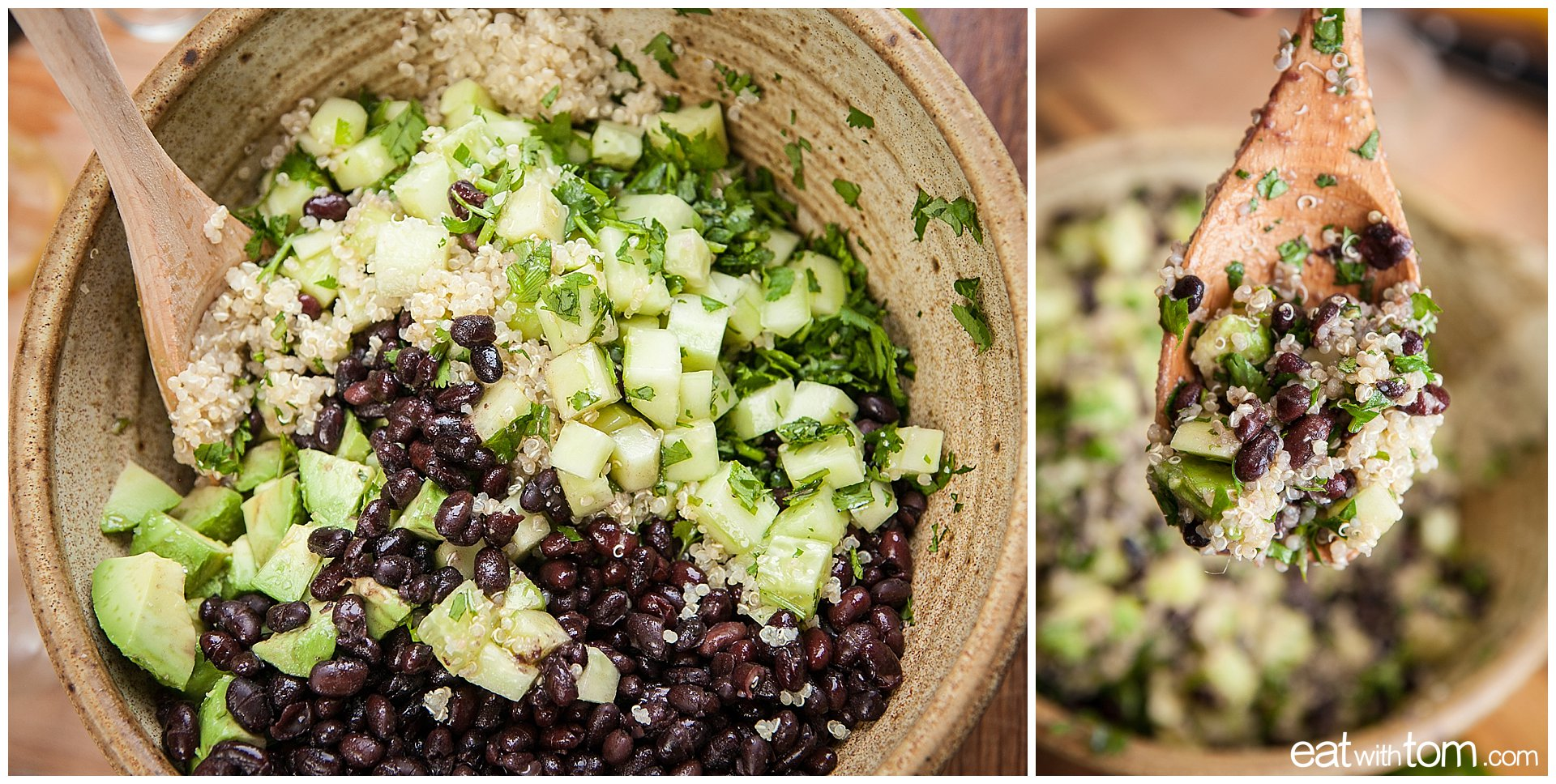 Healthy eating on the cheap - Salad with an egg - quinoa black bean breakfast recipe