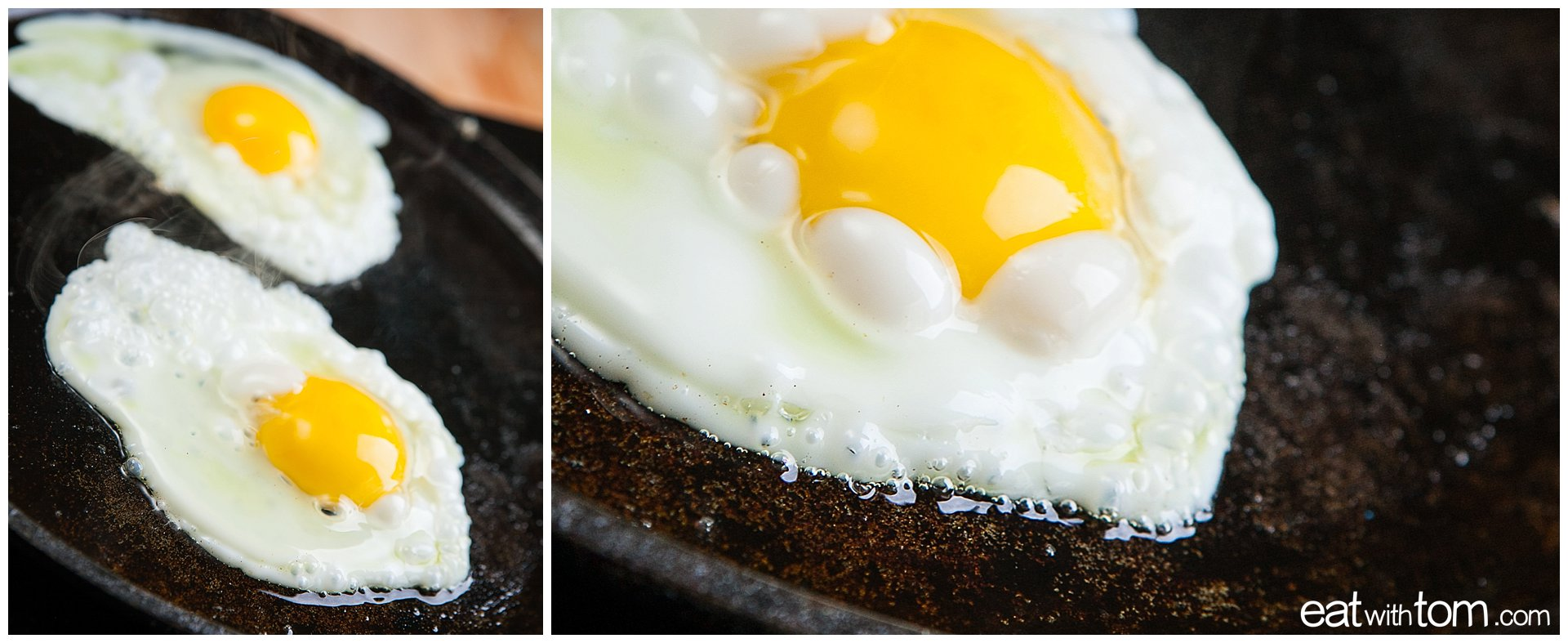 How to cook eggs with gooey center recipe on cast iron pan with butter
