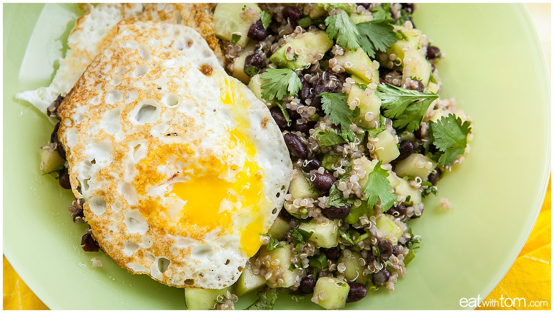 Quinoa Recipe Healthy Eating Ideas - Avocado Black Beans Cilantro Cucumbers Easy Lunch