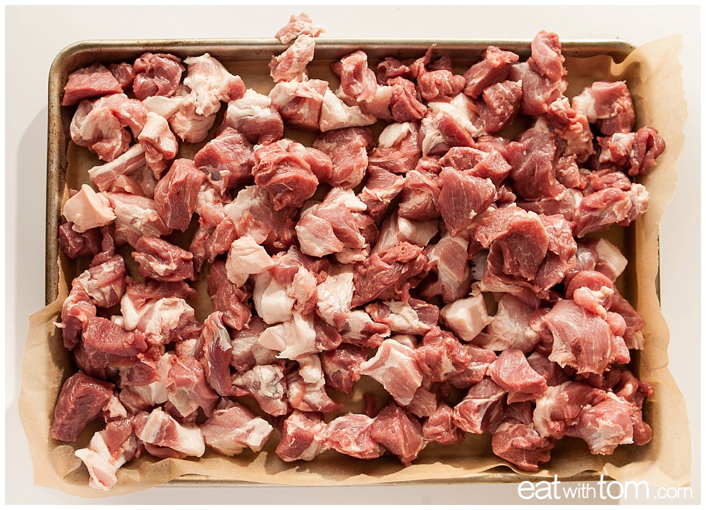 Cut up pork butt to make chorizo sausage spice recipe - Sausage Making - Artisan Skills