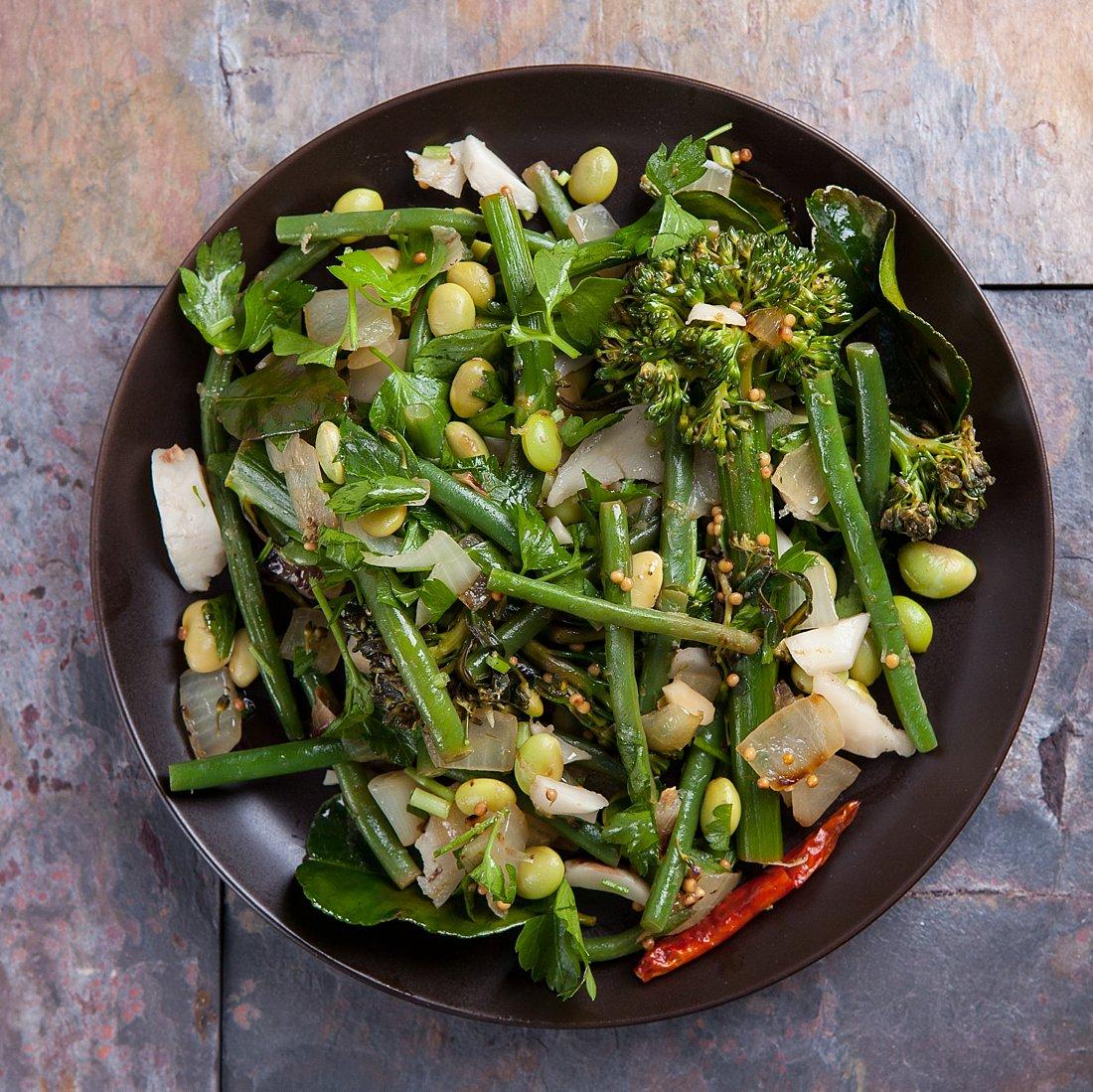 broccolini recipe plenty more edamame green beans coconut