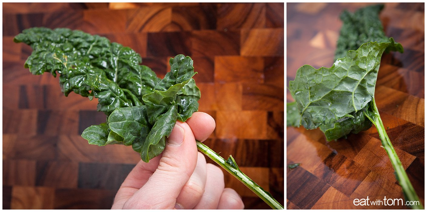 Strip kale leaves from stalk, Kale Salad Recipe Parmesan