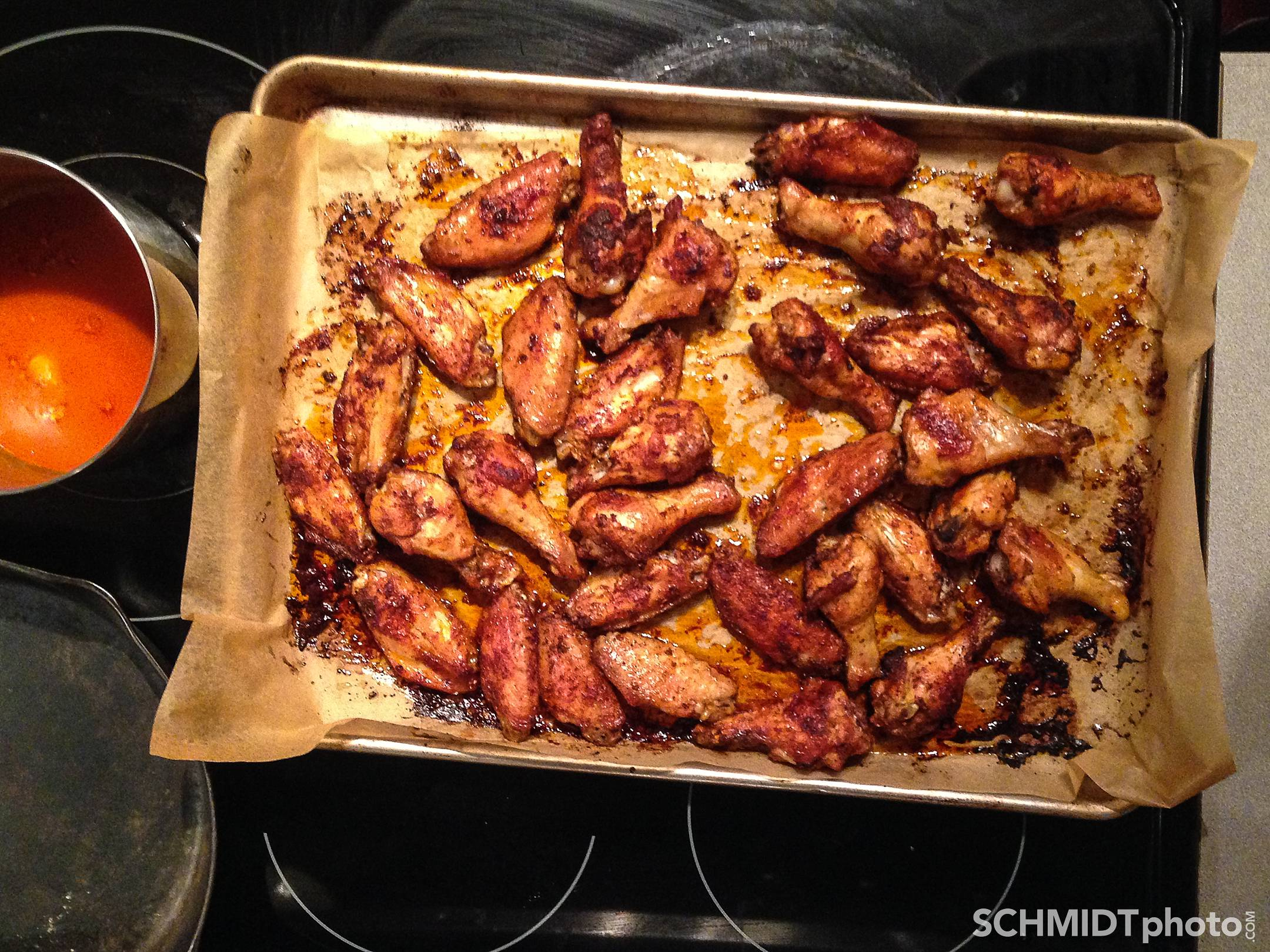 Hot wings chicken oven roasted tom schmidt photo